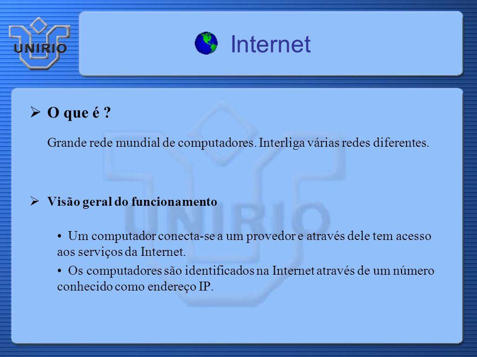 Internet O que é Grande rede mundial de computadores. Interliga várias redes diferentes. Visão geral do funcionamento.