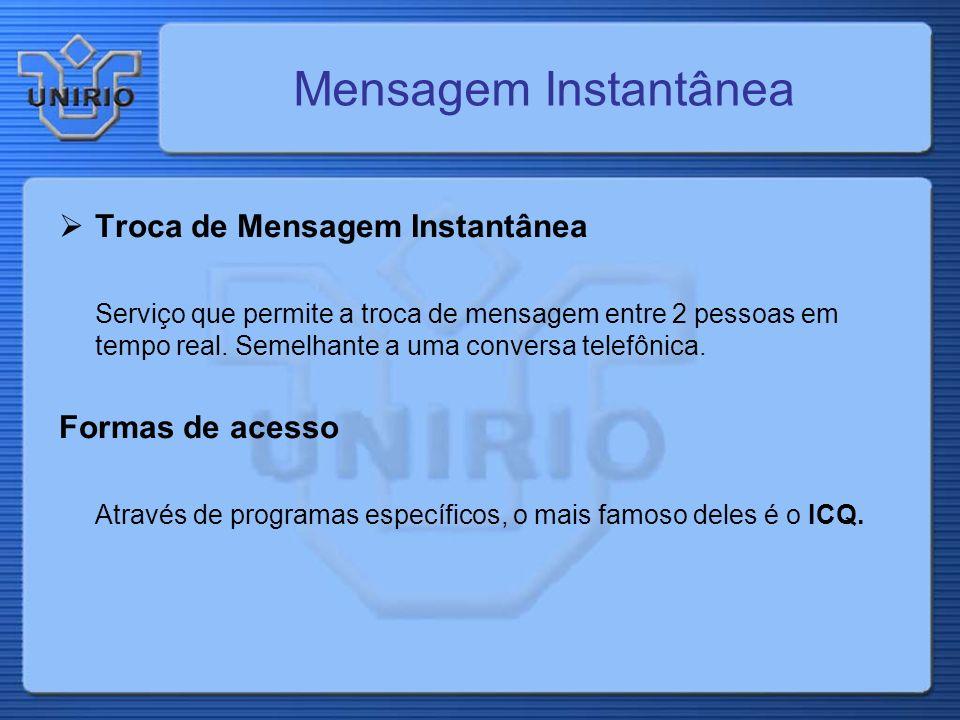 Mensagem Instantânea Troca de Mensagem Instantânea Formas de acesso