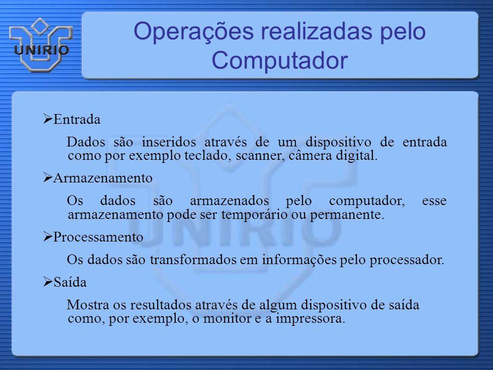 Operações realizadas pelo Computador