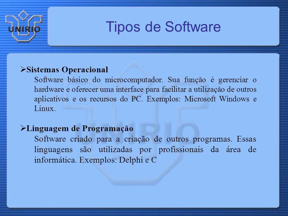 Tipos de Software Sistemas Operacional Linguagem de Programação
