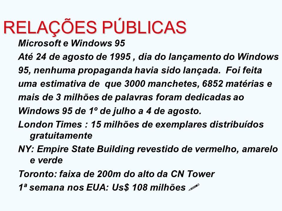 RELAÇÕES PÚBLICAS Microsoft e Windows 95