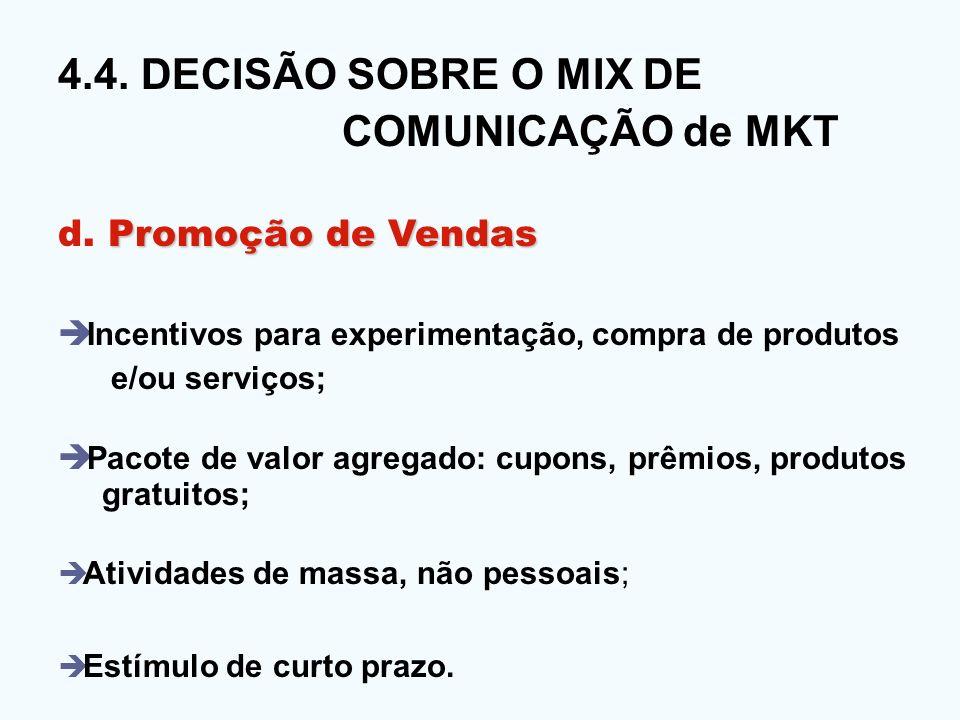 4.4. DECISÃO SOBRE O MIX DE COMUNICAÇÃO de MKT d. Promoção de Vendas
