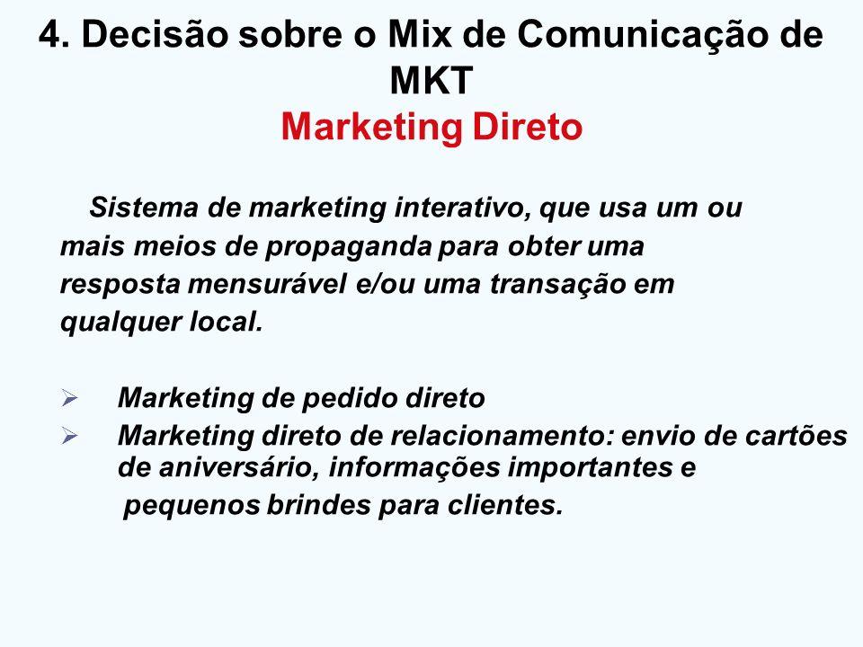 4. Decisão sobre o Mix de Comunicação de MKT Marketing Direto