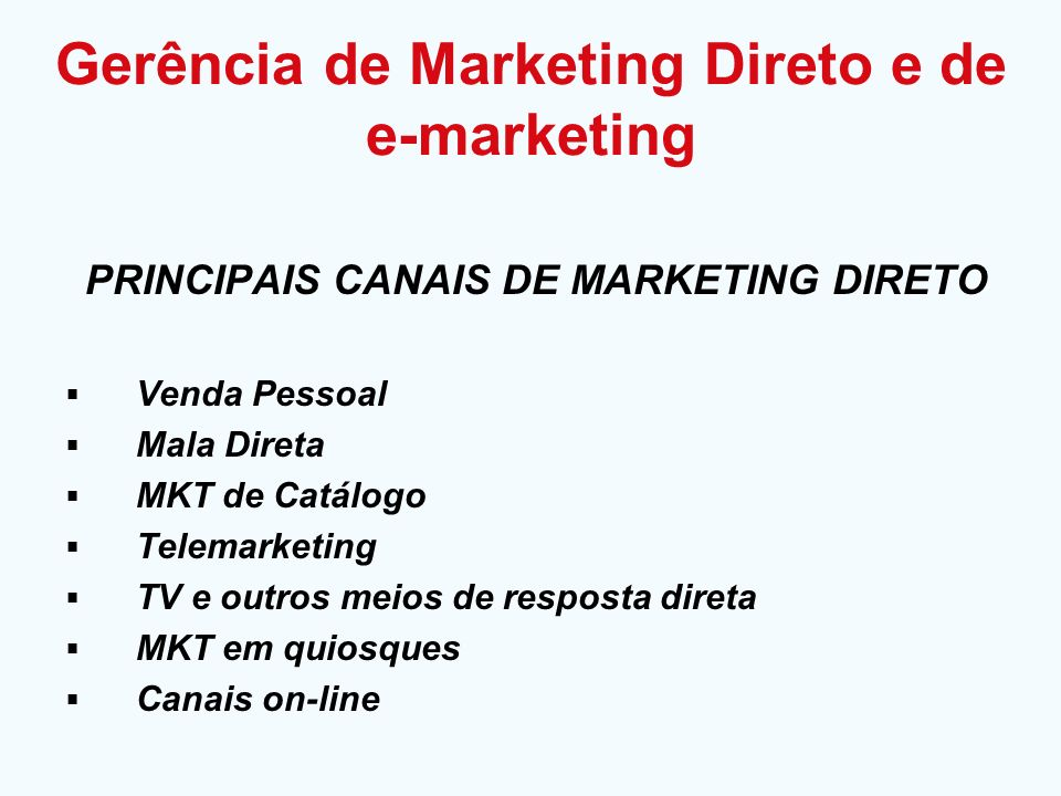 Gerência de Marketing Direto e de e-marketing