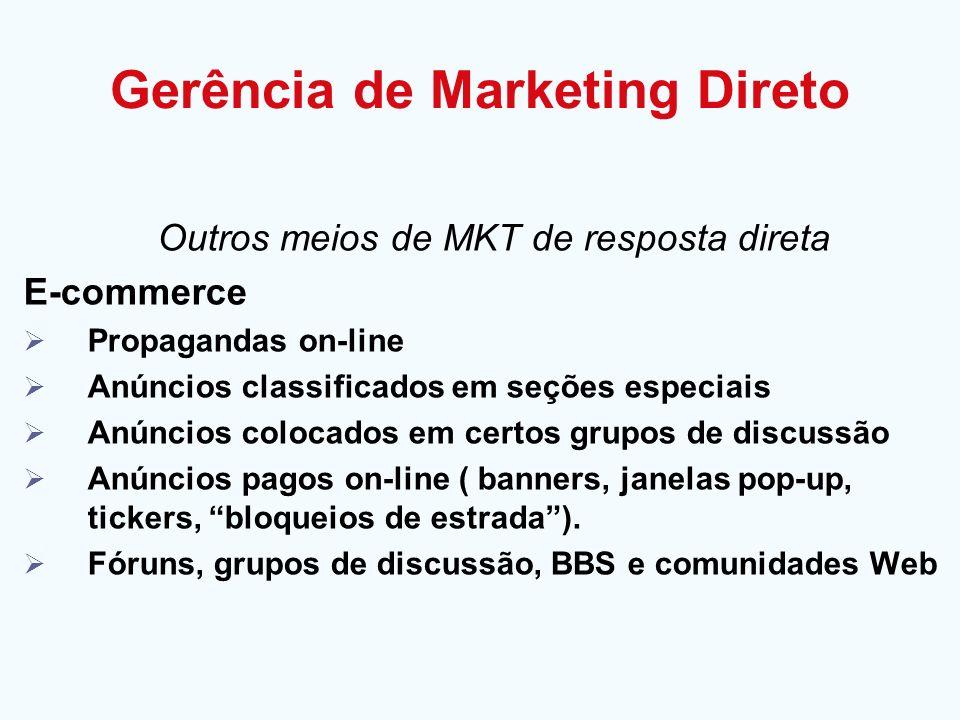Gerência de Marketing Direto