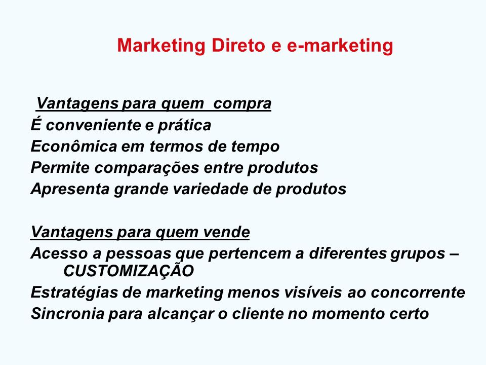 Marketing Direto e e-marketing