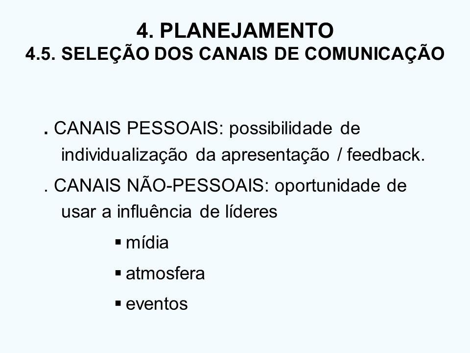 4. PLANEJAMENTO 4.5. SELEÇÃO DOS CANAIS DE COMUNICAÇÃO