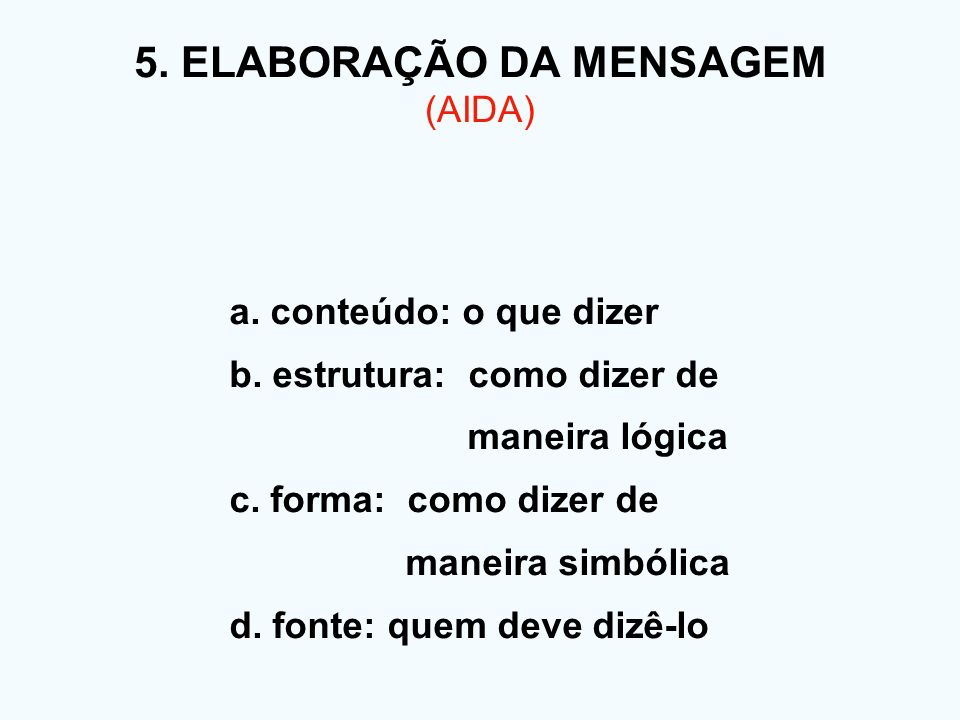 5. ELABORAÇÃO DA MENSAGEM (AIDA)