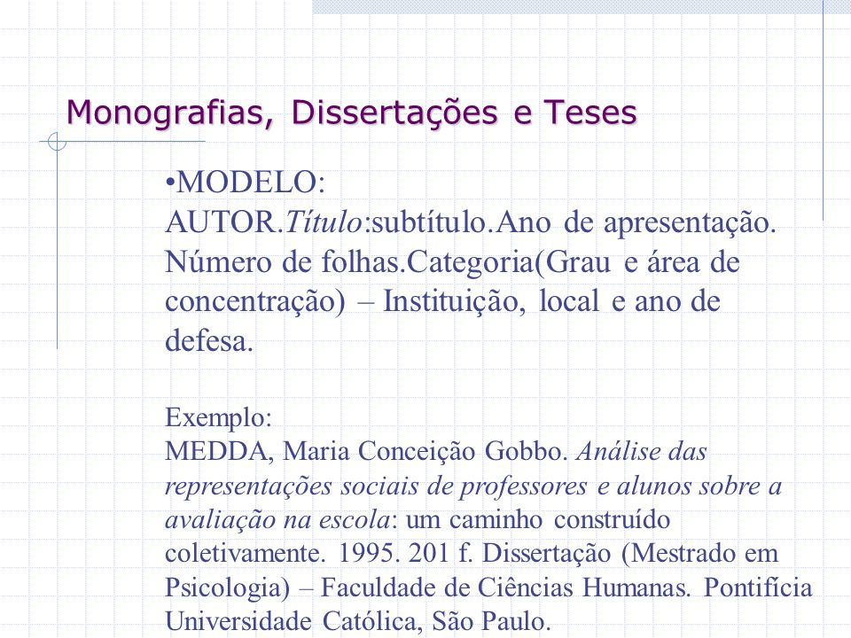 Monografias, Dissertações e Teses