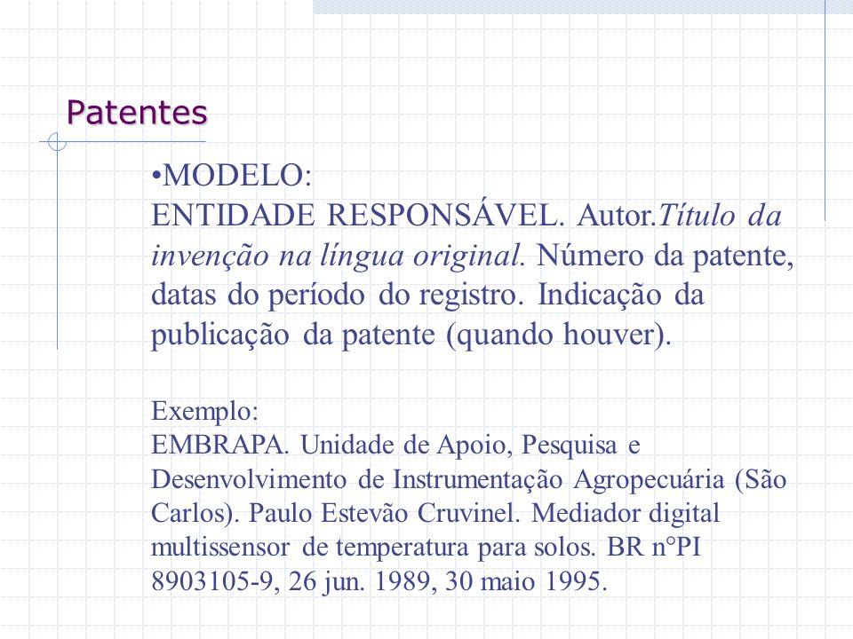 Patentes MODELO: