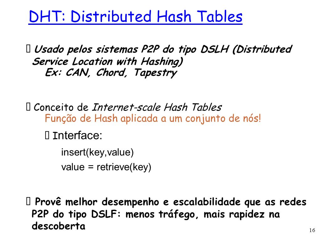 DHT: Distributed Hash Tables