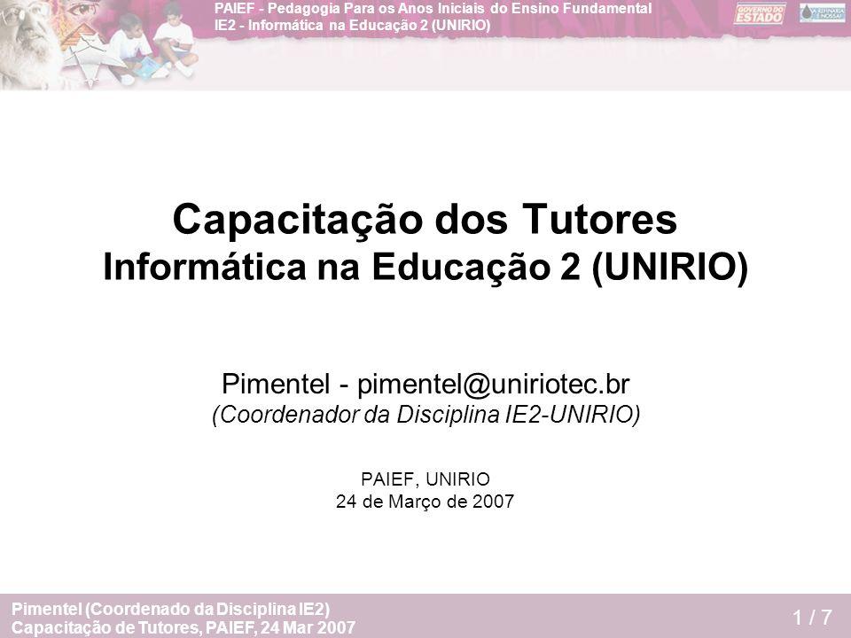 Capacitação dos Tutores Informática na Educação 2 (UNIRIO)