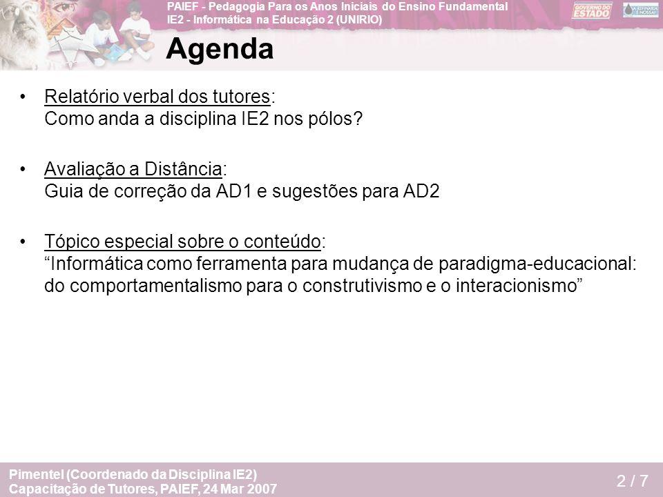 Agenda Relatório verbal dos tutores: Como anda a disciplina IE2 nos pólos Avaliação a Distância: Guia de correção da AD1 e sugestões para AD2.
