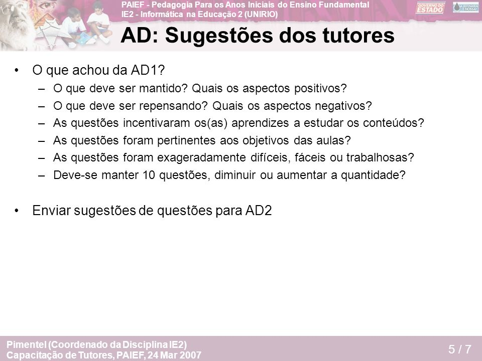 AD: Sugestões dos tutores