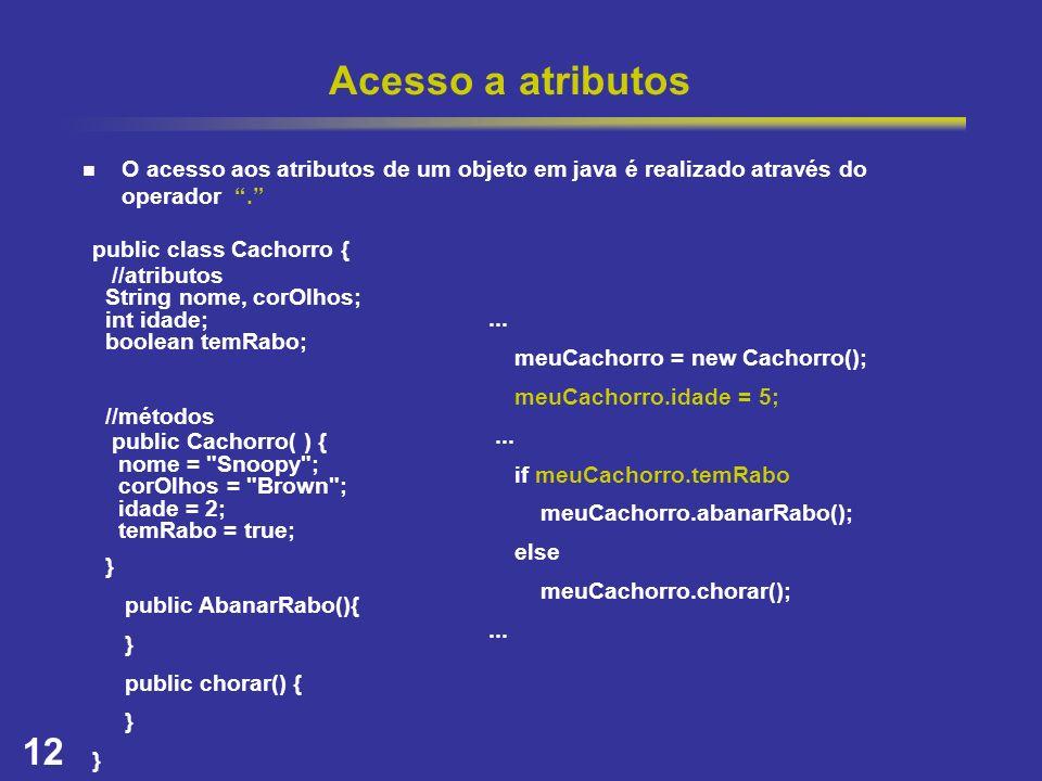 Acesso a atributos O acesso aos atributos de um objeto em java é realizado através do operador .