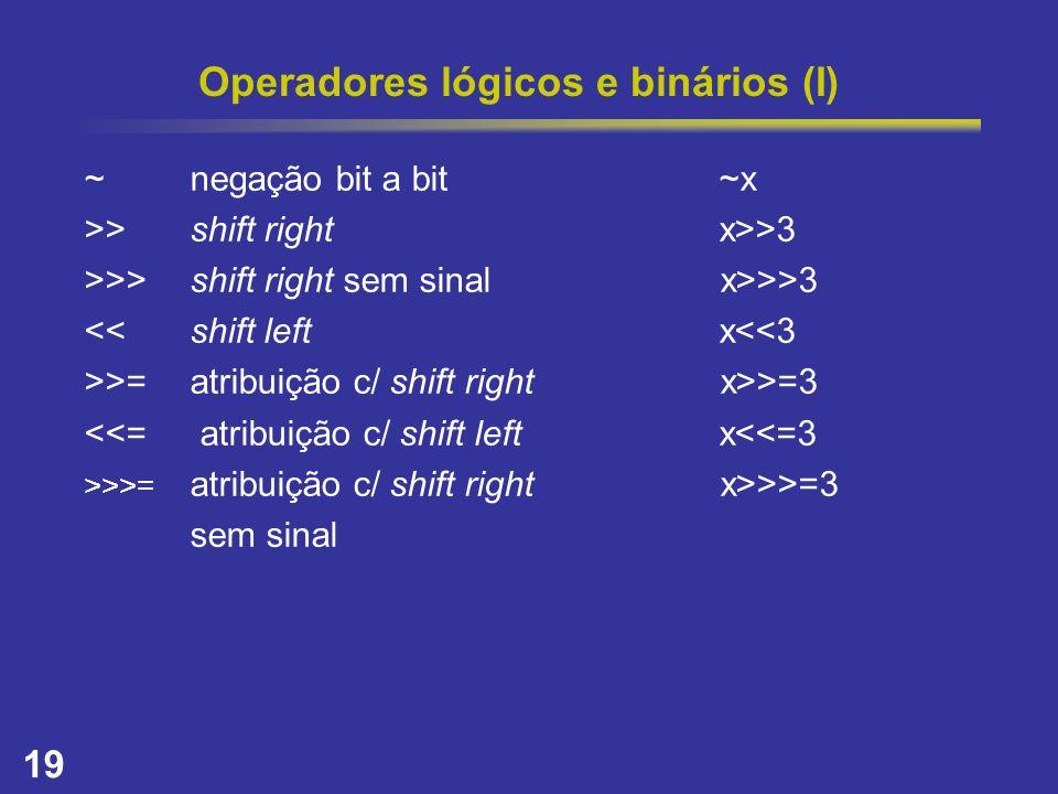 Operadores lógicos e binários (I)