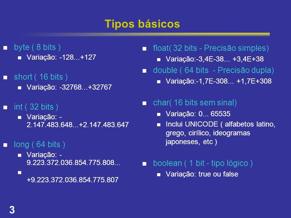Tipos básicos byte ( 8 bits ) short ( 16 bits ) int ( 32 bits )