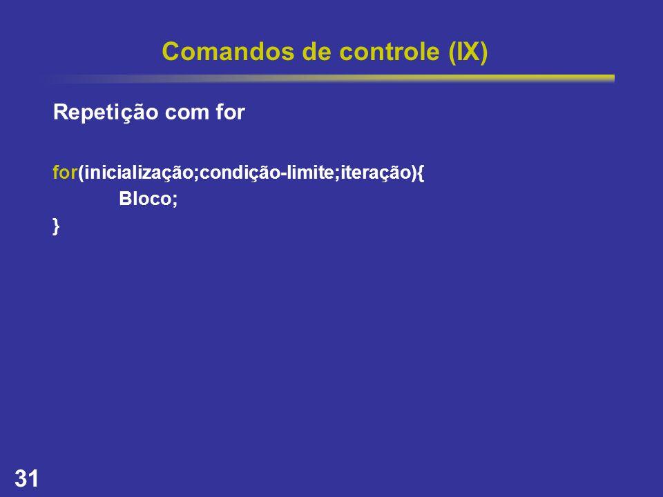 Comandos de controle (IX)