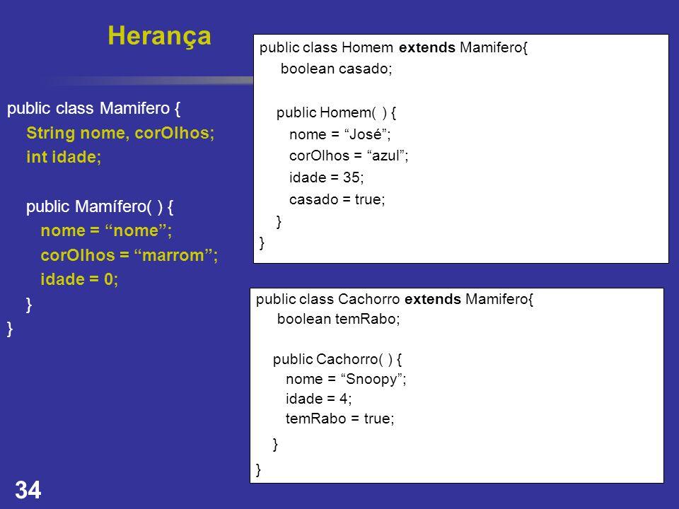 Herança public class Mamifero { String nome, corOlhos; int idade;
