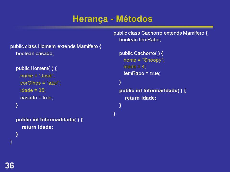 Herança - Métodos public class Cachorro extends Mamifero {