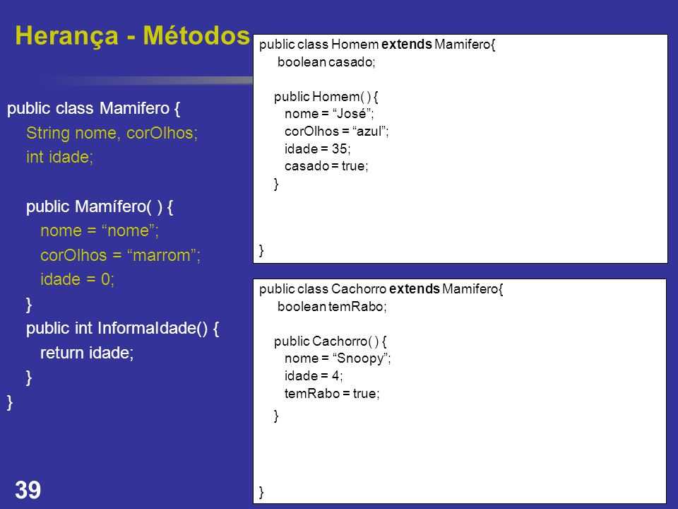 Herança - Métodos public class Mamifero { String nome, corOlhos;