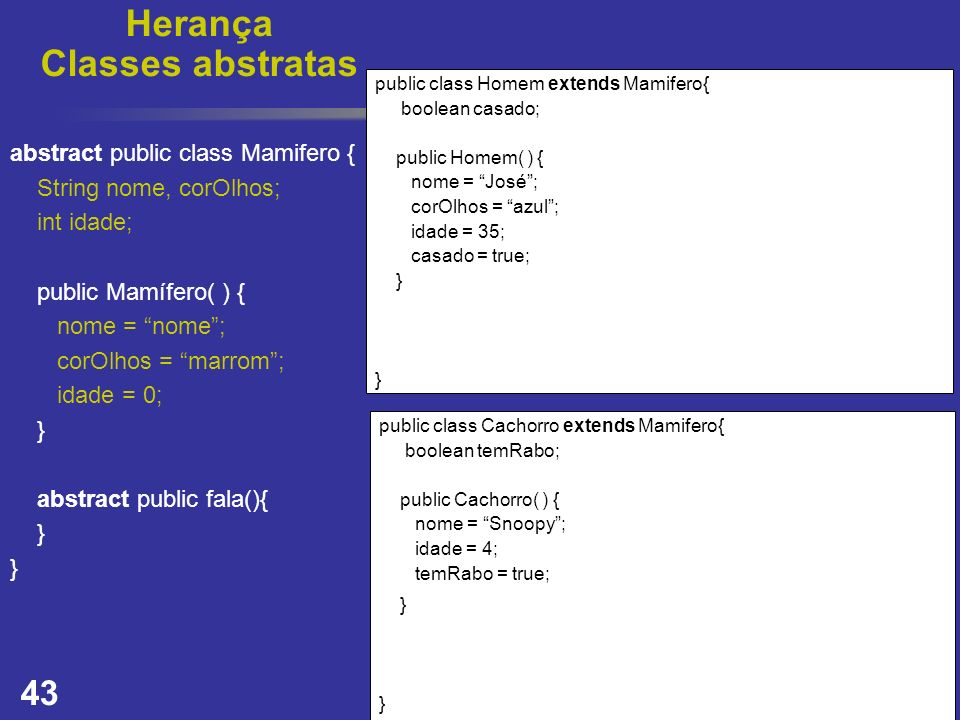 Herança Classes abstratas