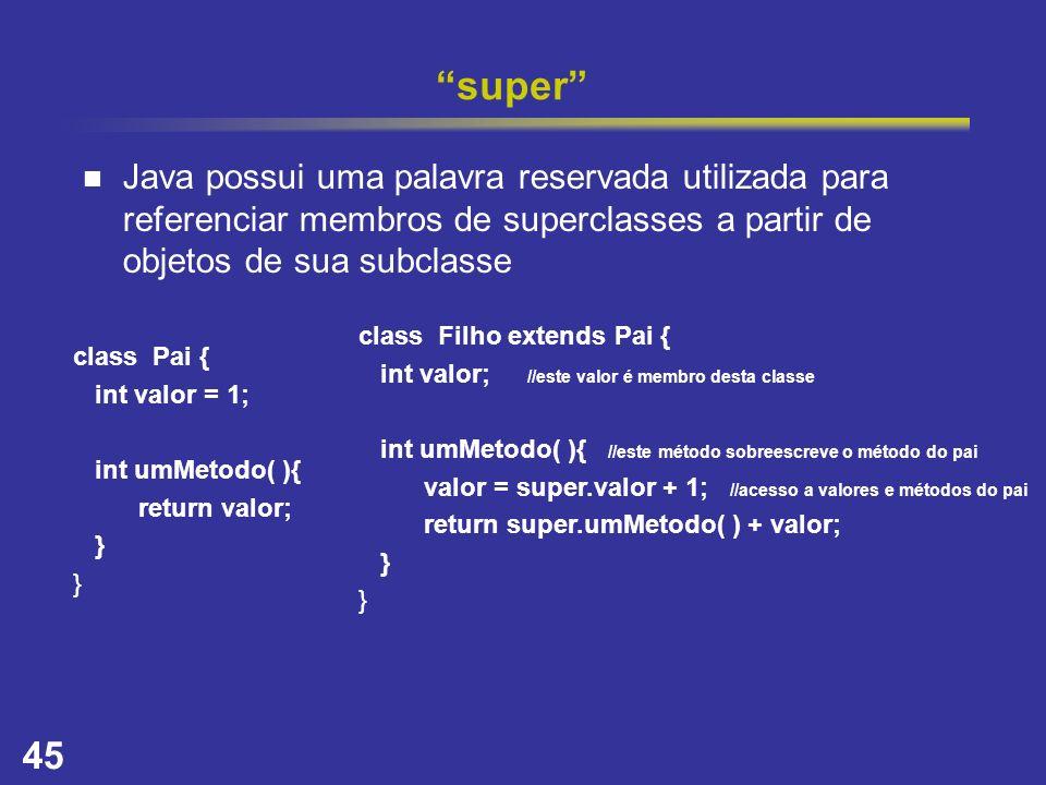 super Java possui uma palavra reservada utilizada para referenciar membros de superclasses a partir de objetos de sua subclasse.