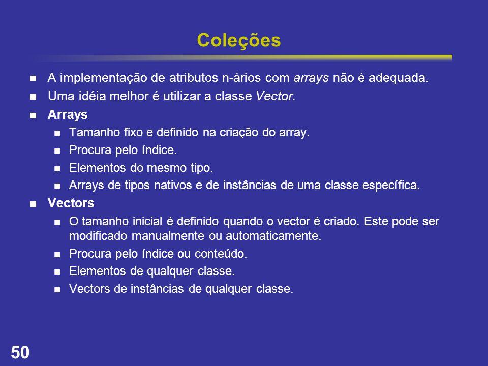 Coleções A implementação de atributos n-ários com arrays não é adequada. Uma idéia melhor é utilizar a classe Vector.