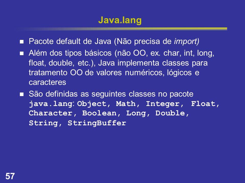Java.lang Pacote default de Java (Não precisa de import)