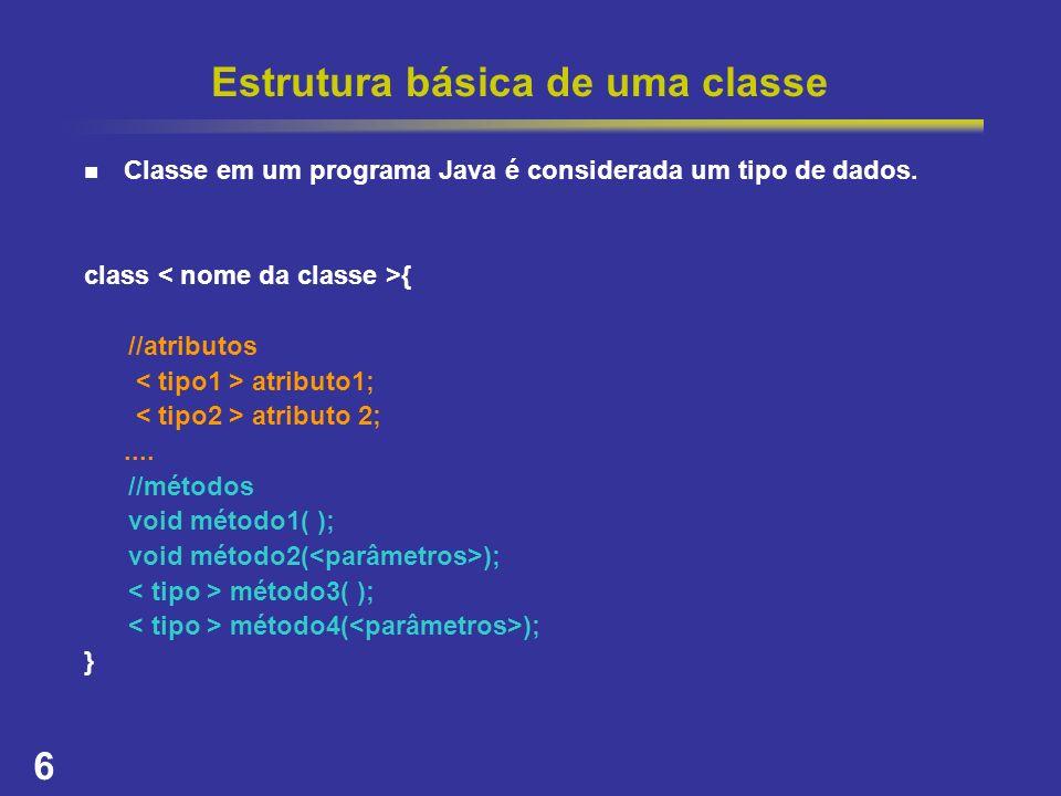 Estrutura básica de uma classe