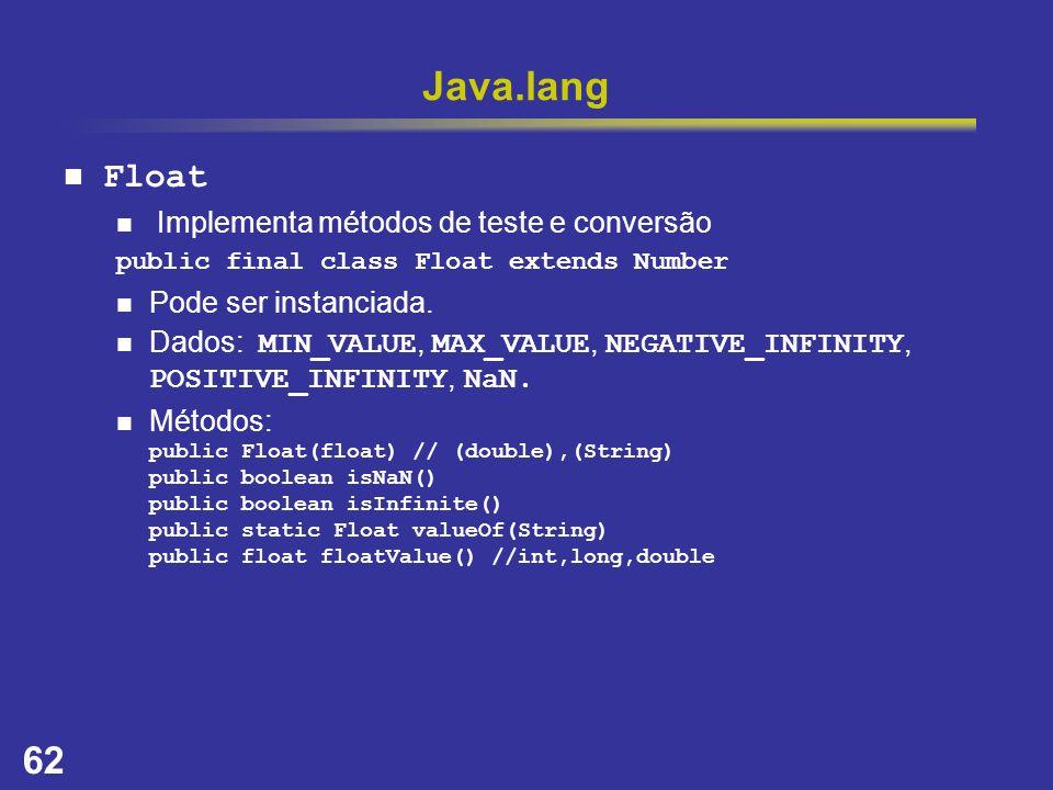 Java.lang Float Implementa métodos de teste e conversão