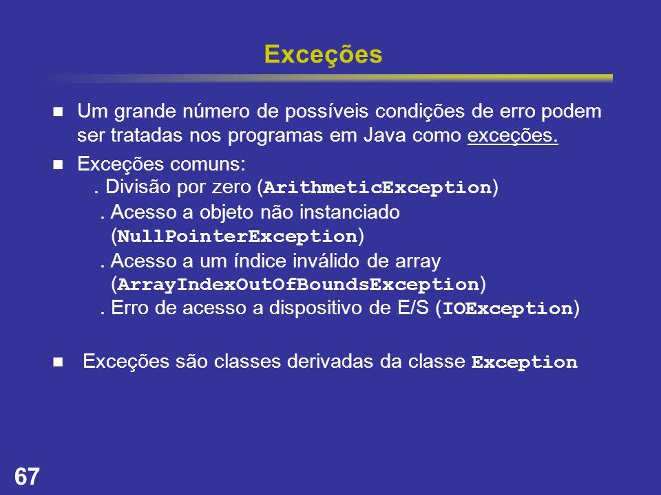 Exceções Um grande número de possíveis condições de erro podem ser tratadas nos programas em Java como exceções.