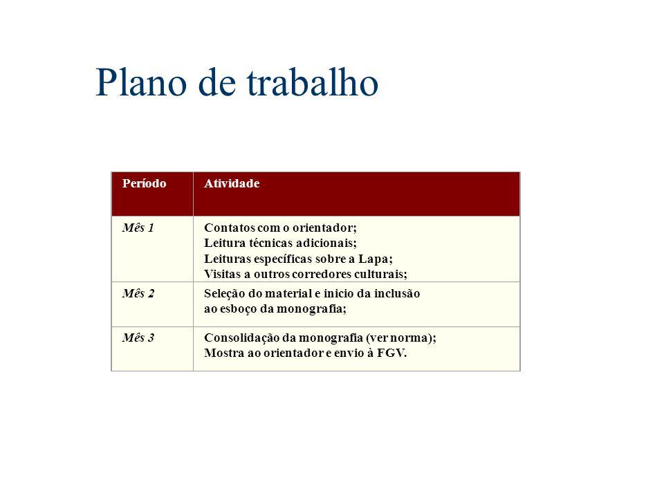 Plano de trabalho Período Atividade Mês 1 Contatos com o orientador;