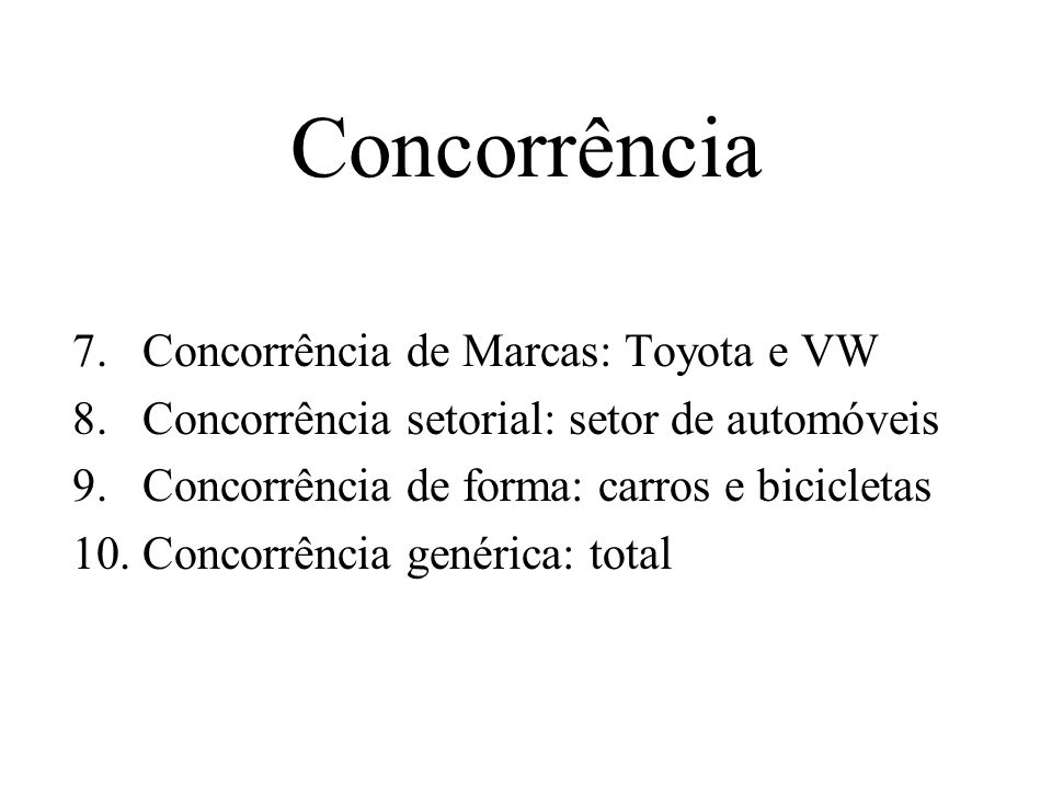 Concorrência Concorrência de Marcas: Toyota e VW