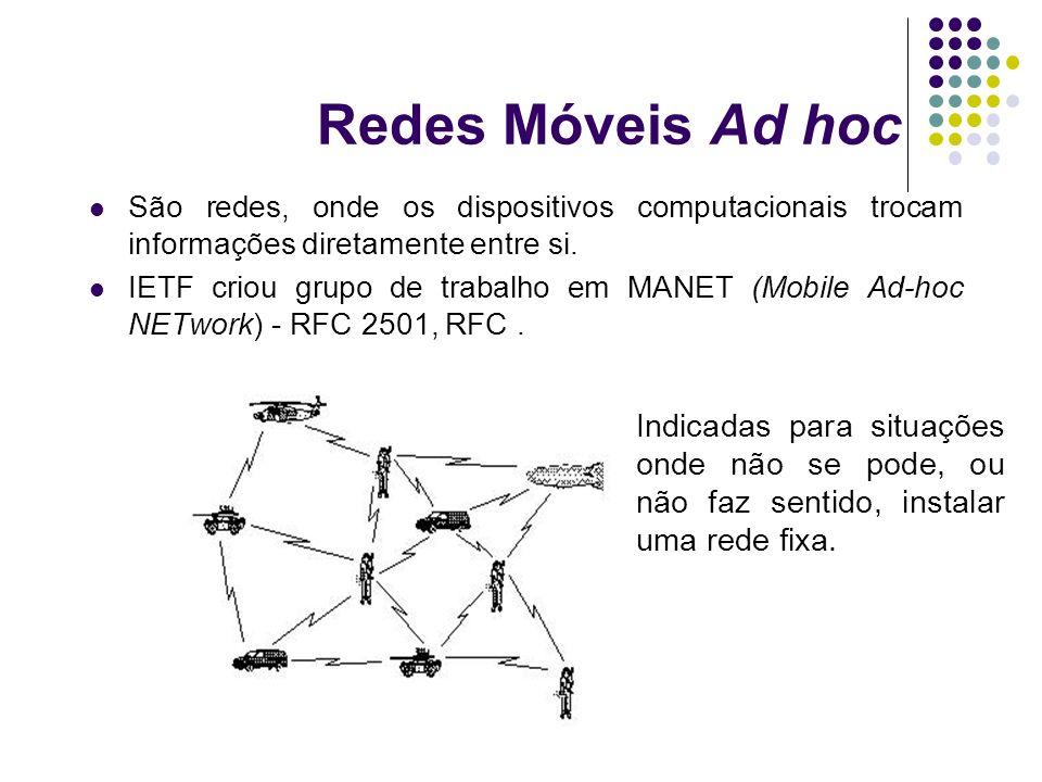 Redes Móveis Ad hoc São redes, onde os dispositivos computacionais trocam informações diretamente entre si.