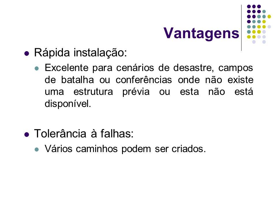 Vantagens Rápida instalação: Tolerância à falhas: