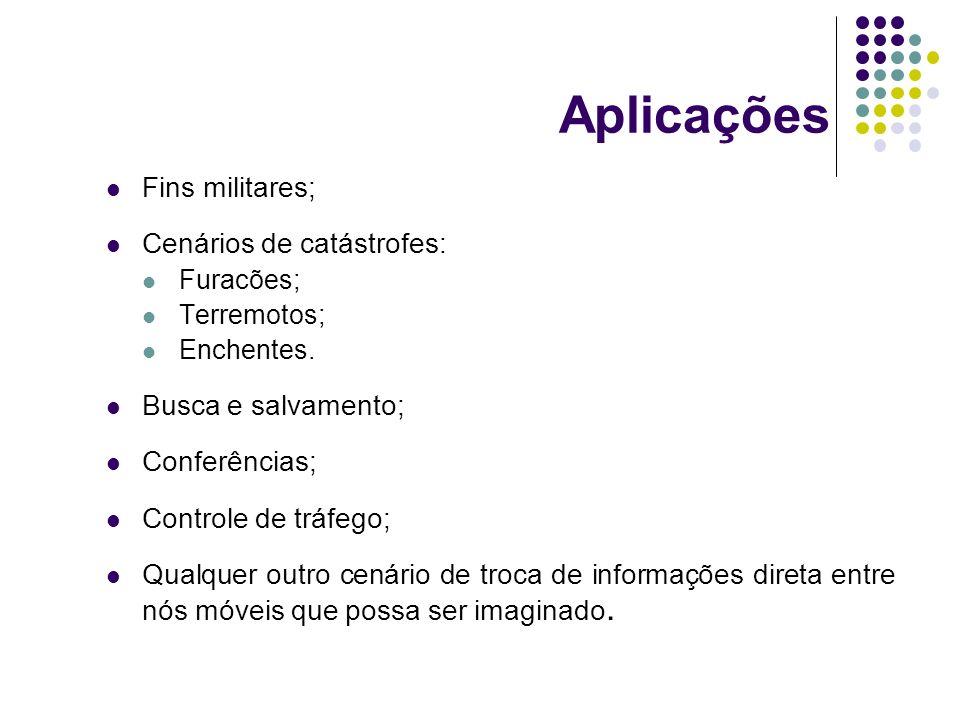 Aplicações Fins militares; Cenários de catástrofes:
