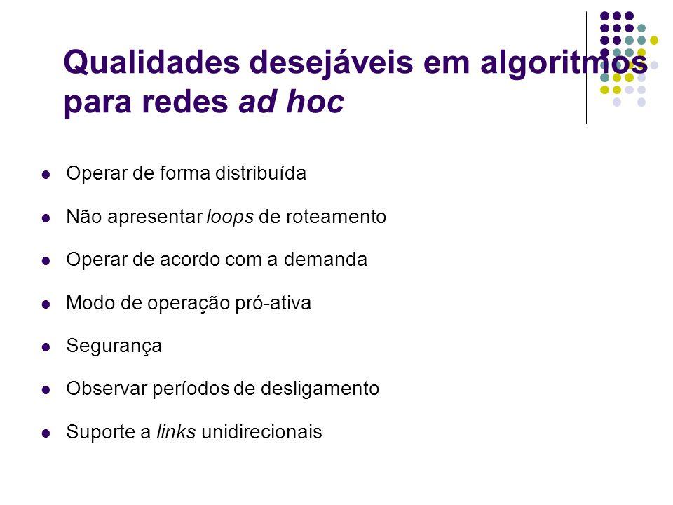 Qualidades desejáveis em algoritmos para redes ad hoc