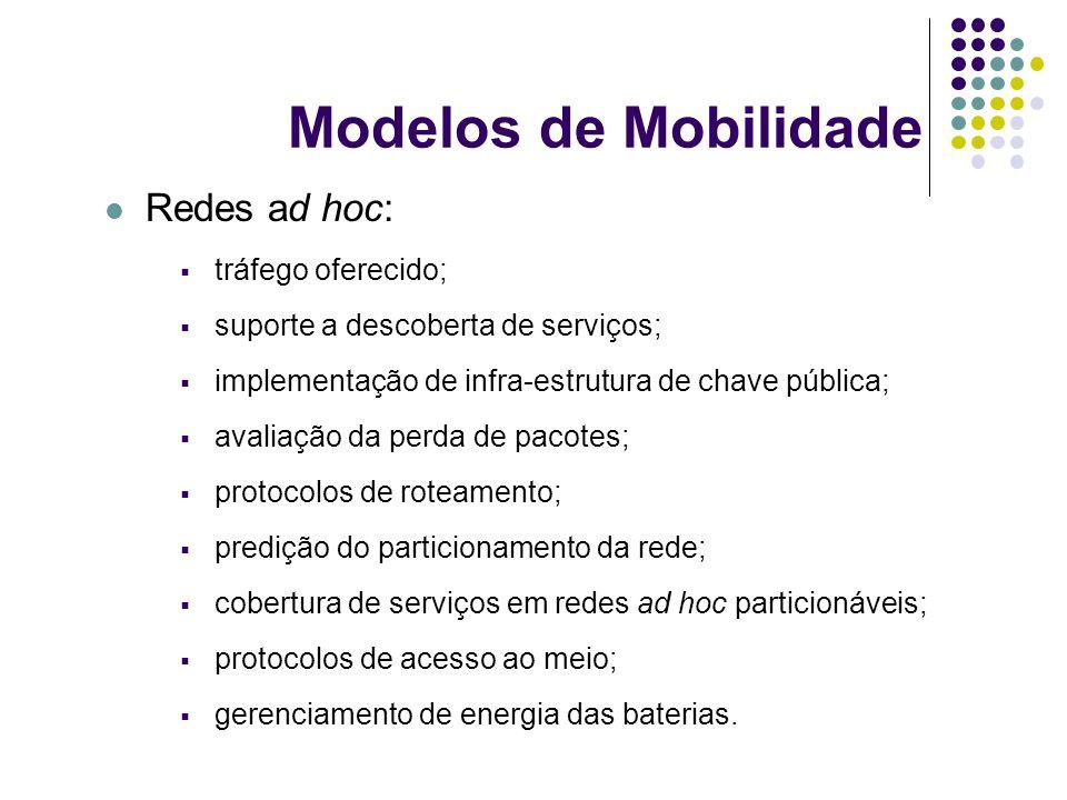 Modelos de Mobilidade Redes ad hoc: tráfego oferecido;
