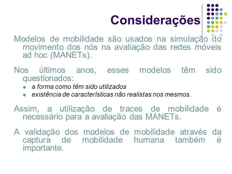 Considerações Modelos de mobilidade são usados na simulação do movimento dos nós na avaliação das redes móveis ad hoc (MANETs).