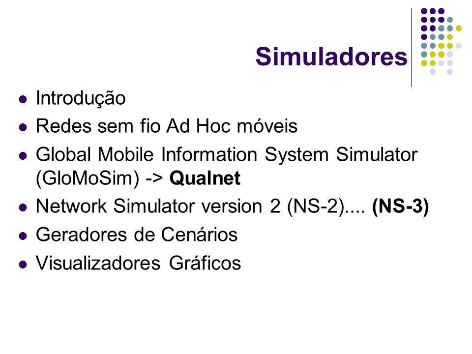 Simuladores Introdução Redes sem fio Ad Hoc móveis