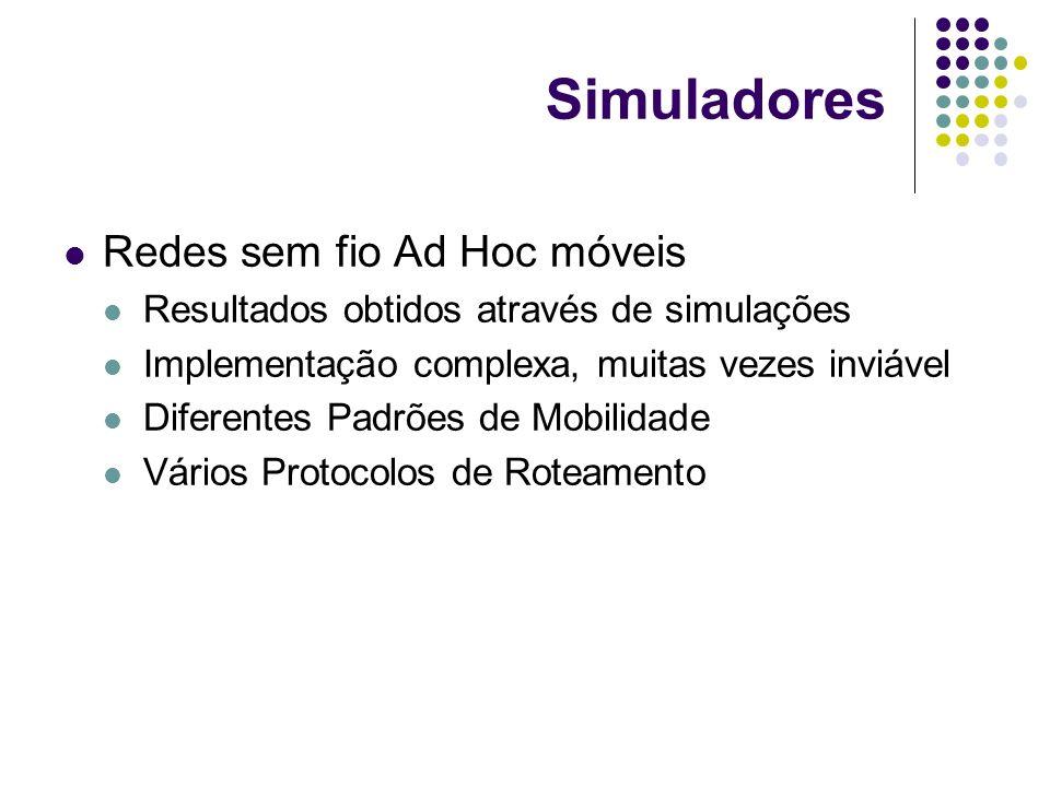 Simuladores Redes sem fio Ad Hoc móveis