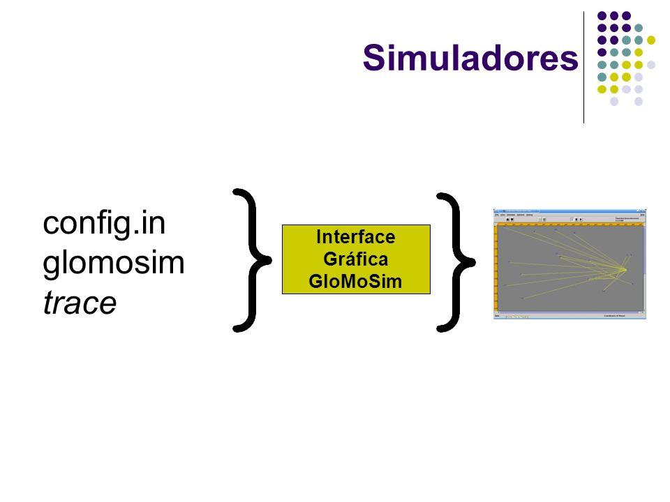 Simuladores config.in glomosim trace Interface Gráfica GloMoSim
