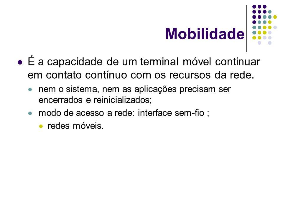 Mobilidade É a capacidade de um terminal móvel continuar em contato contínuo com os recursos da rede.