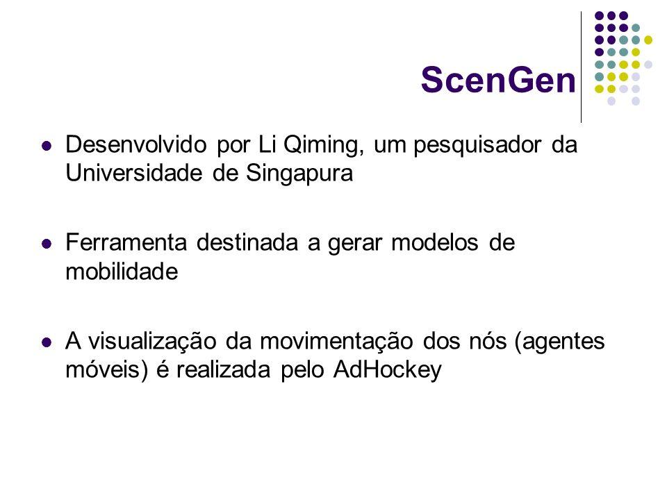ScenGen Desenvolvido por Li Qiming, um pesquisador da Universidade de Singapura. Ferramenta destinada a gerar modelos de mobilidade.