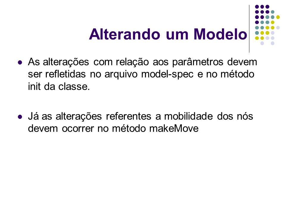 Alterando um Modelo As alterações com relação aos parâmetros devem ser refletidas no arquivo model-spec e no método init da classe.