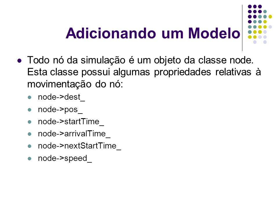 Adicionando um Modelo Todo nó da simulação é um objeto da classe node. Esta classe possui algumas propriedades relativas à movimentação do nó: