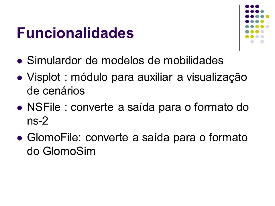 Funcionalidades Simulardor de modelos de mobilidades