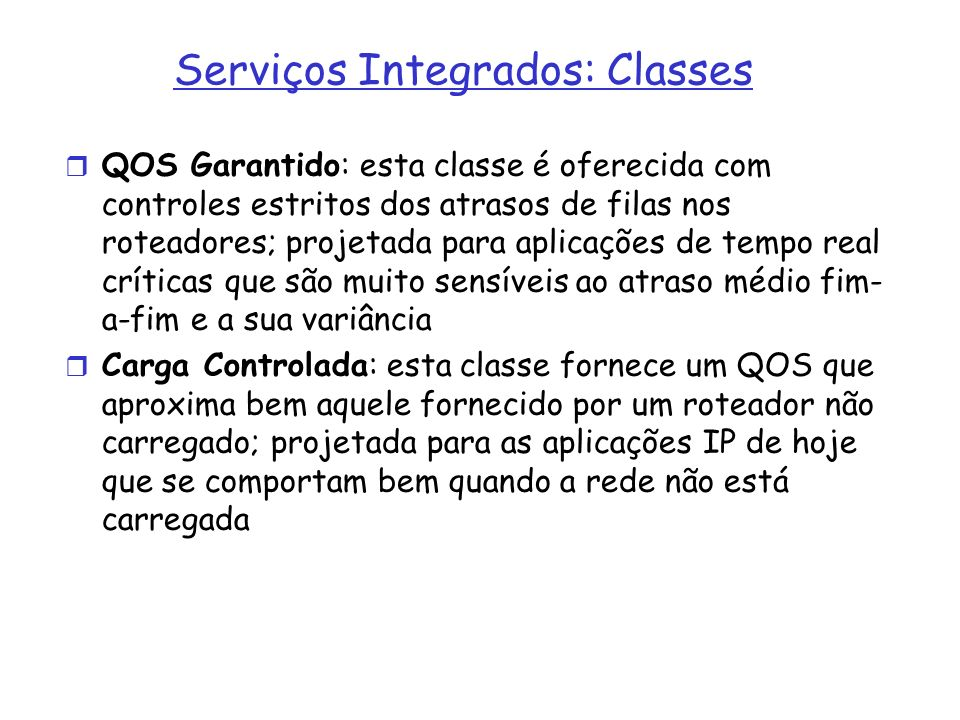 Serviços Integrados: Classes
