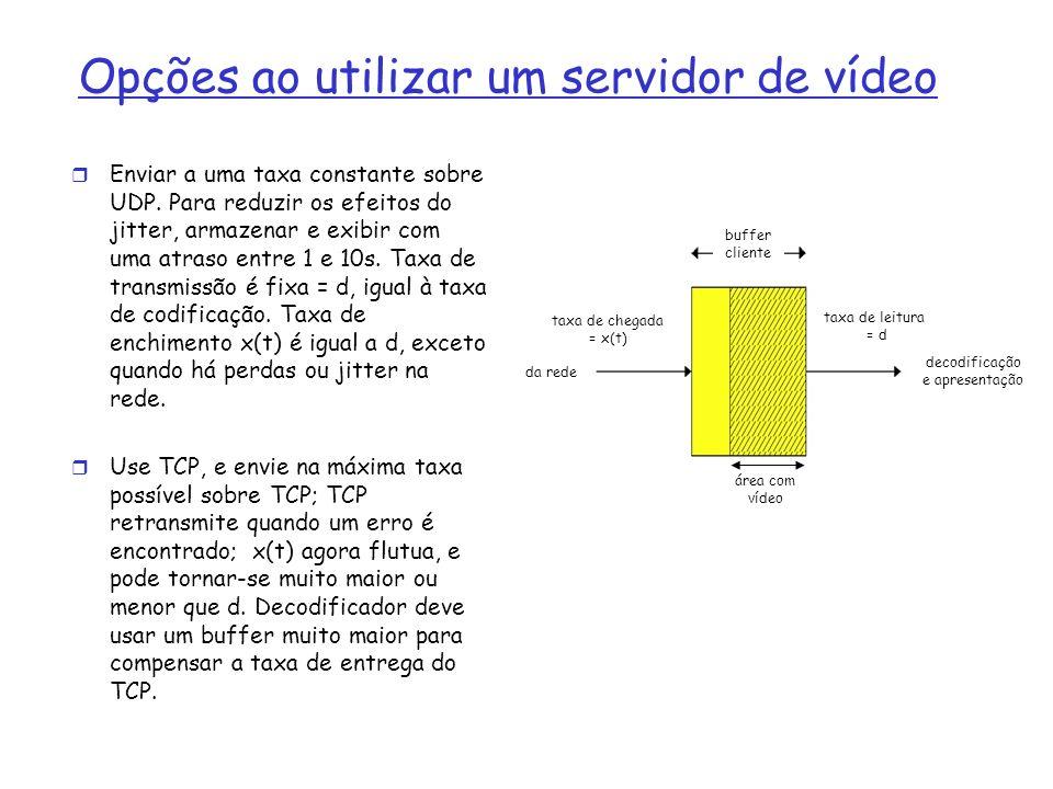 Opções ao utilizar um servidor de vídeo